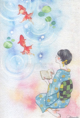 Japanese-reading-woman