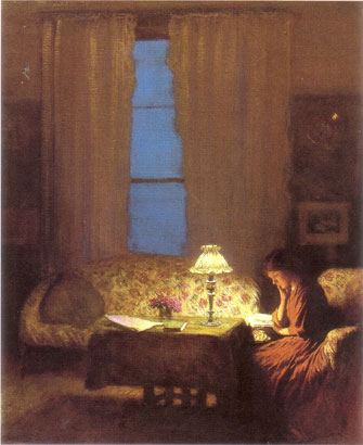 Reading-by-lamplight