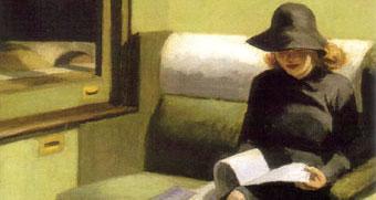 Woman-reading-on-train